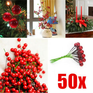 50Pcs Christmas Xmas Red Berry Pick Holly Branch Wreath Decoration Craft A+++