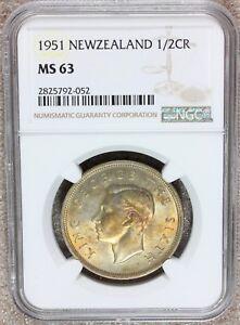 1951 New Zealand 1/2 Half Crown Coin - NGC MS 63 - KM# 19 - Golden Toning