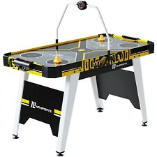 MD Sports 54 Inch Air Hockey Game Table Overhead Electronic Scorer Black Yellow