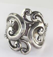 Alfredo Villasana Taxco Mexico Sterling Silver Repousse Swirls Clamper Bracelet