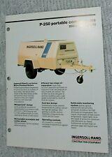 Vintage 1989 Ingersoll Rand Portable Air Compressor P 250 1 Pg Brochure Free Sh