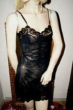 Nylon Nostalgie Vintage Unterkleid schwarz feine Spitze Perlen 44