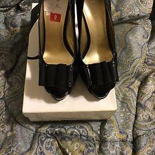9West Women's Black/Suede Peeptoe Shoes Size 9 - Regular Price $89