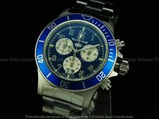 "Glycine Men's 42mm Sub Combat DAY/DATE Chrono ""SWISS MADE"" BLUE Dial SS Watch"