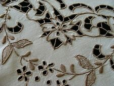 """AMAZING Vtg MADEIRA Linen Tablecloth 41"""" Elaborate Cutwork Hand Embroidered"""
