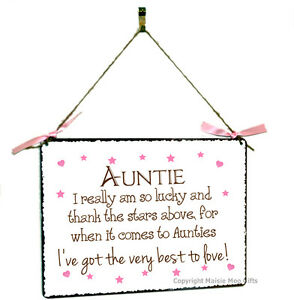 Auntie Aunty Hanging Shabby Chic Vintage Style Metal Plaque Sign Gift Present