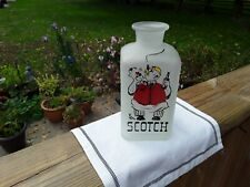 Frosted White Vintage Scotch Decanter With Cartoon Bartender. No Stopper. Retro