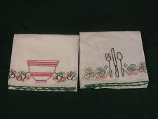 Two Hand Embroidered Kitchen Dish Towels bowl and silverware