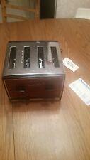 New Vintage Proctor Silex Chrome Wood Grain Toaster T009B 1650 Watts 4 Slice NOS