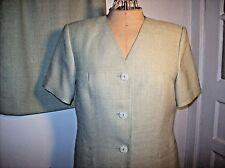 Ladies LE SUIT Skirt Suit Petites 12P Celery Green Short Sleeves CAREER/DRESSY