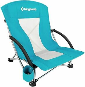 KingCamp Low Seat Beach Chair, Outdoor Camping Folding Chair with Cup Cyan