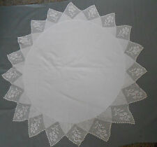 Round White Tablecloth Crocheted Edge