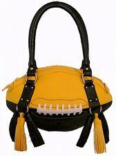NEW r25 Black/Yellow Gold FOOTBALL PURSE Hand Bag NFL Saints Steelers Hawkeyes