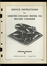 Factory Webster Chicago 156 Record Player Turntable Owner's Service Manual
