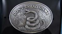 Nocona Western Belt Buckle DON'T TREAD ON ME Snake Silver Tone 37109