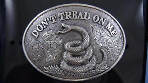 Nocona Western Belt Buckle DON'T TREAD ON ME Snake Silver Tone 37109