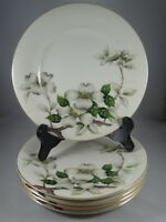 """5 Meito Norleans China Livonia 7 3/4"""" Salad Luncheon Plates Dogwood Flowers"""
