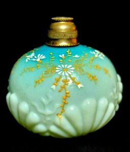 Antique Enameled Satin Glass Perfume Bottle