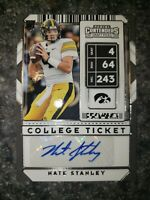 2020 Panini Contenders RC AUTO Nate Stanley College Ticket Iowa Vikings #151