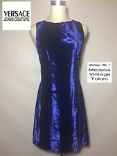 VERSACE J COUTURE Blue Velvet Dress Velours Knee Rare Party Cocktail Italy