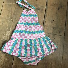 Original Vintage 1950's Cotton Ruched GIRLS Swimsuit With Skirt