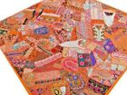 Quilt+Patchwork+Orange+Queen+Bed+Cover+Handmade+Bedspread+India+Floral+Paisley+E