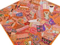 Quilt Bed cover Patchwork Orange Queen Handmade Bedspread India Vintage Patches