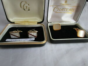 2 Prs Vintage  1950's/60's Mother of Pearl Cuff Links  boxed Good condition