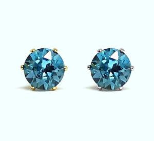 Aquamarine Earrings Stud NON-TARNISH Swarovski 6mm Aqua Crystal 14K Gold Rhodium
