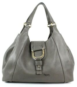GUCCI Elephant Gray Leather Stirrup Detail GREENWICH Hobo Tote Bag