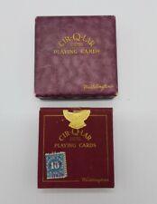 Waddingtons 1929 Cir-Q-Lar Round Gold Gilded Edge Playing Cards in Original Case
