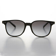 Black Dapper Horn Rim Classic Square Sunglass Gray Lens- Sherman