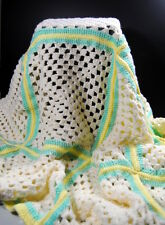 Handmade Crochet Lap Robe Afghan 00004000  Granny Square Acrylic Yellow Green Off White