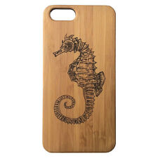 BAMBOO Case made for iPhone 5/5S & SE with Seahorse Artwork Design Wood Cover