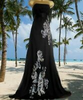 **MONSOON ** STUNNING ROSALKA BLACK SILK EMBELLISHED MAXI EVENING DRESS SIZE 12