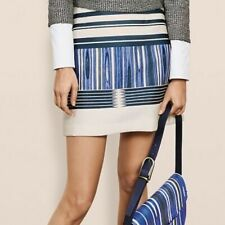 Tory Burch New Women's Cream Blue Green Above Knee A-Line Skirt Size 4 MSRP $595