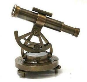 "Alidade Compass 6"" Telescope Wooden Base Marine Navy Gift Item (Brass)"
