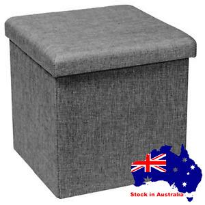 Ottoman Storage Blanket Box Foldable Cube Seat Footrest Stool Magazine Box Chest