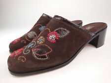 BRIGHTON Fiona Brown Suede Embroidered Floral Mules Shoes Sz 7 M