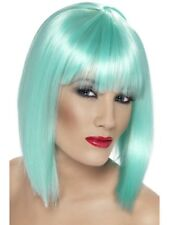 BLUE GLAM WIG LADIES FANCY DRESS COSTUME ACCESSORY SHORT AQUA BOB WIG