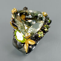 Quality Gemstone Natural Green Amethyst 925 Sterling Silver Ring Size 8.5/R83553