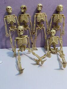 "Lot Of 6 Skeleton 6"" Miniature Plastic Small Halloween Dollhouse Boneyard Fairy"