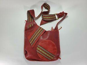 Handmade Artisan Etnick Leather Crossbody PurseTraditional  Fabric Colombia Boho
