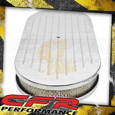 """Chevy Ford Mopar 19"""" Oval Polished Al Air Cleaner Ball Milled With Paper Filter"""