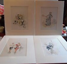 4 Reproduction Prints H. McVickor Copy. 1890 Frederick Stokes Victorian Ladies