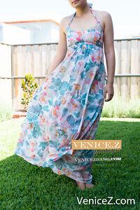 BNWT RRP$229 Leona By Leona Edmiston SUN DAY PICNIC Halter Maxi Dress Size 8