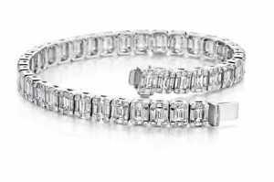 Sparkling Baguette & Round Cut 74.36CT Cubic Zirconia Wedding Tennis Bracelets