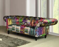 Anna Scroll Chesterfield Luxury Fabric Patchwork Sofa Suite 2 Seater