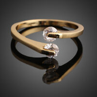 Fashion Women 18K Gold Plated Crystal Bridal Engagement Ring Gift Size 6/7/8/9