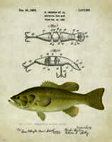 Vintage Fishing Lure Patent Art Print Largemouth Bass Fish Heddon Gifts PAT209